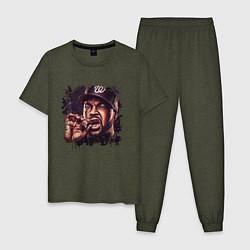 Пижама хлопковая мужская Ice Cube цвета меланж-хаки — фото 1