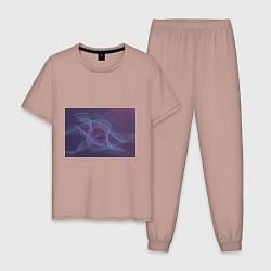 Пижама хлопковая мужская Абстрактный узор цвета пыльно-розовый — фото 1