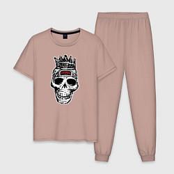 Пижама хлопковая мужская Offspring цвета пыльно-розовый — фото 1