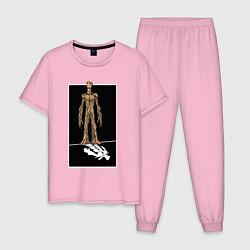 Пижама хлопковая мужская Groot! цвета светло-розовый — фото 1