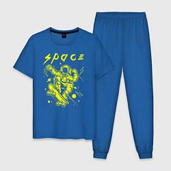 Пижама хлопковая мужская Space цвета синий — фото 1