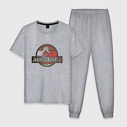 Пижама хлопковая мужская Jurassic World цвета меланж — фото 1