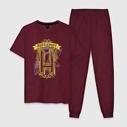 Мужская хлопковая пижама с принтом Гарри Поттер, цвет: меланж-бордовый, артикул: 10218569105937 — фото 1