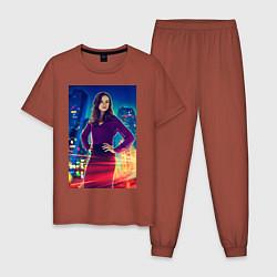 Пижама хлопковая мужская The Flash цвета кирпичный — фото 1