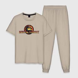 Пижама хлопковая мужская Mortal Kombat цвета миндальный — фото 1
