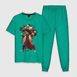 Пижама хлопковая мужская Goro цвета зеленый — фото 1