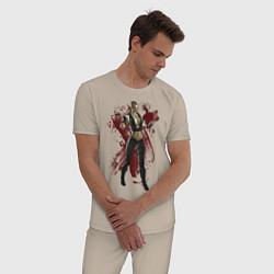 Пижама хлопковая мужская Sonya Blade цвета миндальный — фото 2