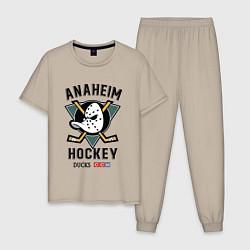 Пижама хлопковая мужская ANAHEIM DUCKS цвета миндальный — фото 1
