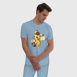 Пижама хлопковая мужская Пикачу цвета мягкое небо — фото 2