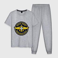 Пижама хлопковая мужская Морская авиация ВМФ цвета меланж — фото 1