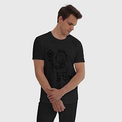 Пижама хлопковая мужская Человечки с цветком парная муж цвета черный — фото 2