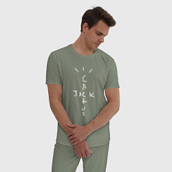Пижама хлопковая мужская CACTUS JACK цвета авокадо — фото 2