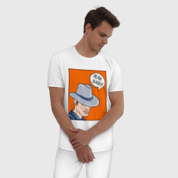 Пижама хлопковая мужская Yeah baby цвета белый — фото 2