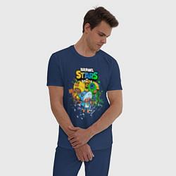 Пижама хлопковая мужская Brawl Stars Leon Trio цвета тёмно-синий — фото 2