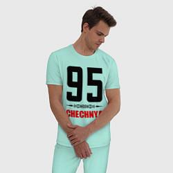 Пижама хлопковая мужская 95 Chechnya цвета мятный — фото 2