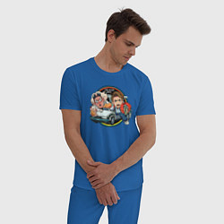 Пижама хлопковая мужская Back to the Future цвета синий — фото 2