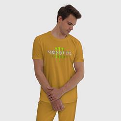 Пижама хлопковая мужская MONSTER ENERGY цвета горчичный — фото 2