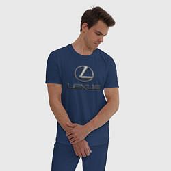 Пижама хлопковая мужская LEXUS цвета тёмно-синий — фото 2