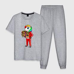 Пижама хлопковая мужская Такеши 6ix9ine цвета меланж — фото 1