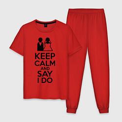 Пижама хлопковая мужская Keep Calm & Say I Do цвета красный — фото 1