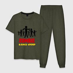 Пижама хлопковая мужская Zombie dance group цвета меланж-хаки — фото 1