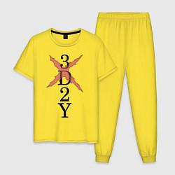 Пижама хлопковая мужская 3D 2Y цвета желтый — фото 1