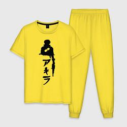 Пижама хлопковая мужская Akira цвета желтый — фото 1