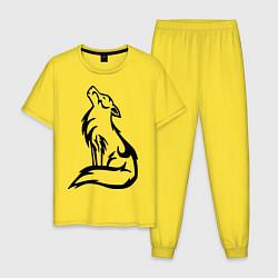 Пижама хлопковая мужская Вой волка тату цвета желтый — фото 1