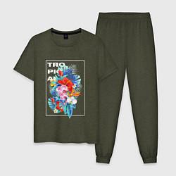 Пижама хлопковая мужская Tropical цвета меланж-хаки — фото 1