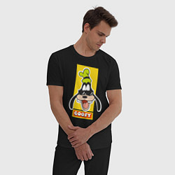 Пижама хлопковая мужская Гуффи цвета черный — фото 2