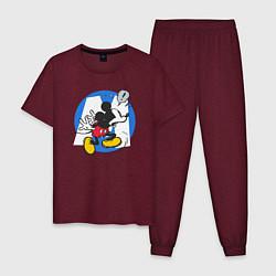 Пижама хлопковая мужская Микки Маус цвета меланж-бордовый — фото 1