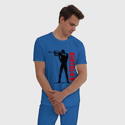 Пижама хлопковая мужская Биатлон цвета синий — фото 2