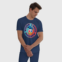Пижама хлопковая мужская Duck Vision цвета тёмно-синий — фото 2