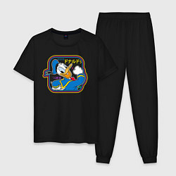 Пижама хлопковая мужская Дональд Дак цвета черный — фото 1