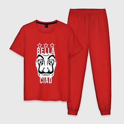 Пижама хлопковая мужская La Casa de Papel Z цвета красный — фото 1