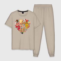 Пижама хлопковая мужская LOVE RUSSIA цвета миндальный — фото 1