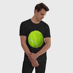 Пижама хлопковая мужская Теннис цвета черный — фото 2