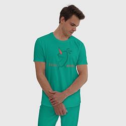 Пижама хлопковая мужская Olaf: Chill Mode цвета зеленый — фото 2