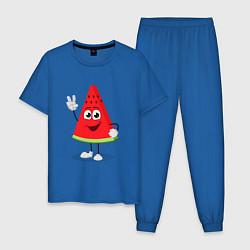 Пижама хлопковая мужская Фруктовый арбуз цвета синий — фото 1