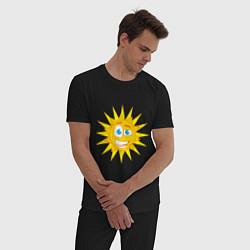 Пижама хлопковая мужская Летнее солнце цвета черный — фото 2