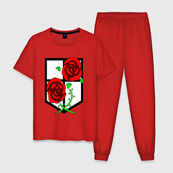 Пижама хлопковая мужская Атака Титанов цвета красный — фото 1