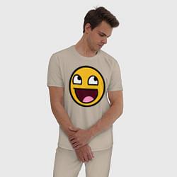 Пижама хлопковая мужская Смайл цвета миндальный — фото 2