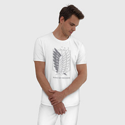 Пижама хлопковая мужская Wings of freedom цвета белый — фото 2