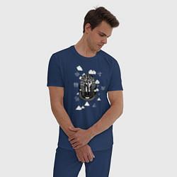 Пижама хлопковая мужская Каир Древний Египет цвета тёмно-синий — фото 2