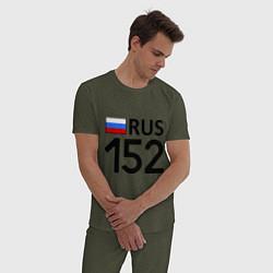 Пижама хлопковая мужская RUS 152 цвета меланж-хаки — фото 2