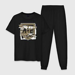 Пижама хлопковая мужская Justice League цвета черный — фото 1