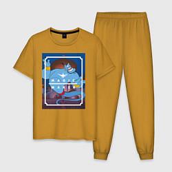 Пижама хлопковая мужская Джинн цвета горчичный — фото 1