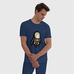 Пижама хлопковая мужская Fall guys skeleton цвета тёмно-синий — фото 2