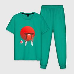 Пижама хлопковая мужская Япония цвета зеленый — фото 1