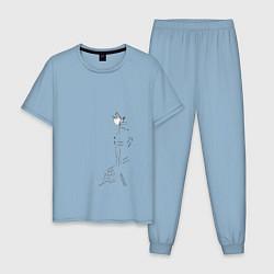 Пижама хлопковая мужская Кирито цвета мягкое небо — фото 1